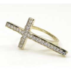 10k Yellow Gold Cz Cross Ring 0.55ct