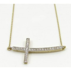 10k Yellow Gold Cz Cross Pendant 16 Inch 0.50 Mm 0.55ct