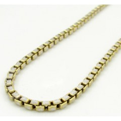 10k Two Tone Gold Fancy Diamond Cut Box Chain 20-30 Inch 2.3mm