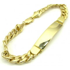 10k Yellow Gold Miami Id Bracelet 8.50 Inch 8mm