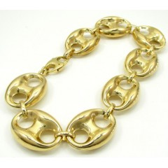 10K Yellow Gold Gucci Link Bracelet 8.50 Inch 16.50mm