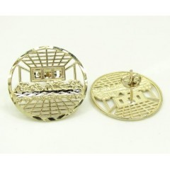 10k Yellow Gold Two Tone Jesus Apostles Last Supper Round Cage Earrings