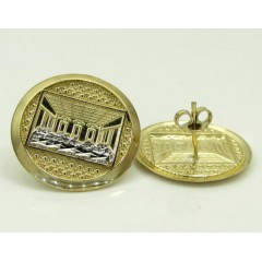 10k Yellow Gold Two Tone Jesus Apostles Last Supper Round Earrings