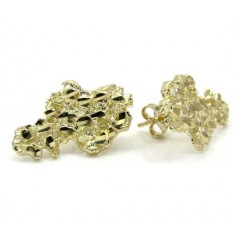 10k Yellow Gold Diamond Cut Medium Nugget Earrings