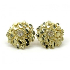 10k Yellow Gold Diamond Cut Round Nugget Cz Earrings 0.04ct