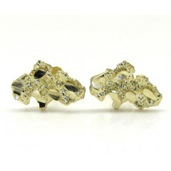 10k Yellow Gold Diamond Cut Mini Nugget Earrings