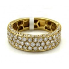 Mens 14k Yellow Gold Half Diamond Iced Out Wedding Band 1.50ct