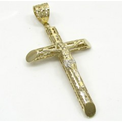 10k Yellow Gold Medium Carved Out Hollow Tube Jesus Cross
