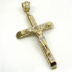 10k Yellow Gold Cz Small Jesus Cross
