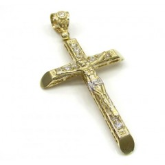 10k Yellow Gold Cz Large Jesus Cross