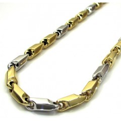 14k Two Tone Gold Hollow Bullet Link Chain 24-28 Inch 5.5mm