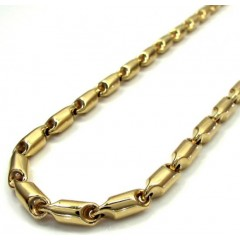 14k Yellow Gold Hollow Bullet Link Chain 24 Inch 4.5mm