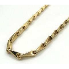 14k Yellow Gold Hollow Bullet Link Chain 26 Inch 3.7mm