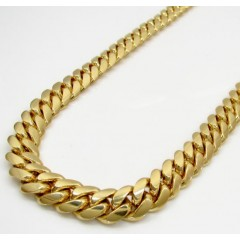 14k Yellow Gold Solid Miami Link Chain 22-32 Inch 8.5mm