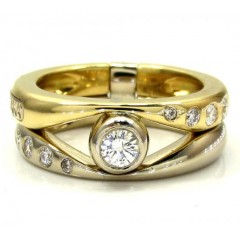 Baraka 18k Two Tone Gold Diamond Band 0.38ct