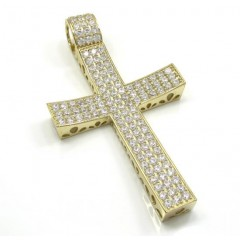 10k Yellow Gold Small Cz Concave Solid Frame Cross 2.00ct
