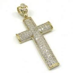 10k Yellow Gold Medium Cz Solid Dome Frame Cross 3.00ct