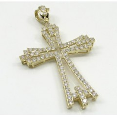 10k Yellow Gold Large Cz Fancy Cross 4.00ct