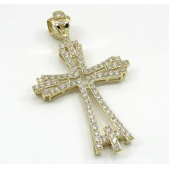 10k Yellow Gold Medium Cz Fancy Cross 3.00ct