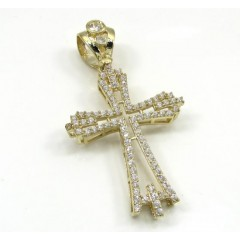 10k Yellow Gold Small Cz Fancy Cross 2.00ct