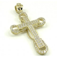 10k Yellow Gold Medium Cz 3d Cross 3.00ct