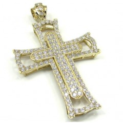10k Yellow Gold Large Double Cross 4.00ct