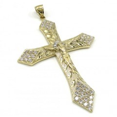 10k Yellow Gold Large Diamond Cut Jesus Cross 2.00ct