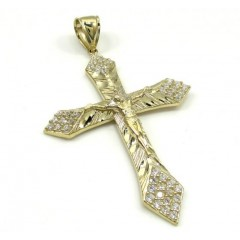 10k Yellow Gold Medium Diamond Cut Jesus Cross 2.00ct
