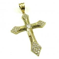 10k Yellow Gold Large Diamond Cut Cross 2.00ct
