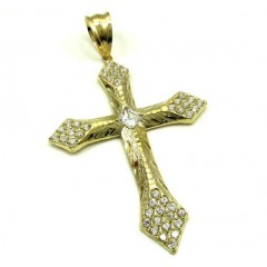 10k Yellow Gold Large Diamond Cut Cross 2.00ct