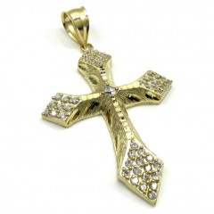 10k Yellow Gold Medium Diamond Cut Cross 1.50ct
