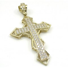 10k Yellow Gold Large Diamond 3d Jesus Cross 2.50ct
