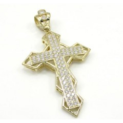 10k Yellow Gold Medium Diamond 3d Jesus Cross 2.00ct