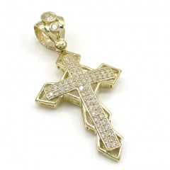 10k Yellow Gold Small Diamond 3d Jesus Cross 1.50ct