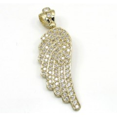 10k Yellow Gold Medium Angel Wing Pendant 1.00ct