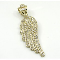 10k Yellow Gold Medium Angel Wing Pendant 0.75ct