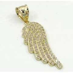 10K Yellow Gold Small Angel Wing Pendant 0.50CT