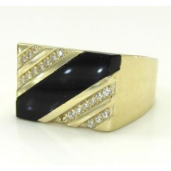 10k Yellow Gold Rectangle Cz Onyx Ring 0.20ct