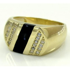 10k Yellow Gold Box Cz Onyx Ring 0.20ct