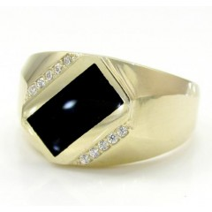 10k Yellow Gold Cz Black Onyx Ring 0.10ct