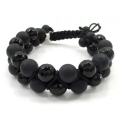 Macramé Matte & Faceted Glossy Black Onyx Smooth Bead Double Rope Bracelet