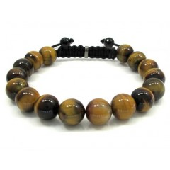 Tiger Eye Onyx Macramé Smooth Bead Rope Bracelet