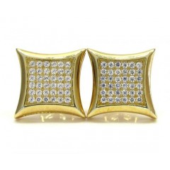 .925 Yellow Sterling Silver White Cz Kite Earrings 0.72ct