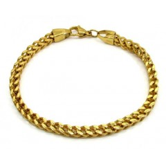 Yellow Stainless Steel Franco Bracelet 9 Inch 5mm