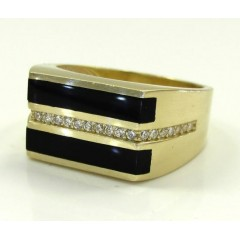 10k Yellow Gold Cz Black Onyx Box Ring 0.24ct