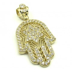 10k Yellow Gold Cz Star Of David Hamsa Pendant 2.00ct
