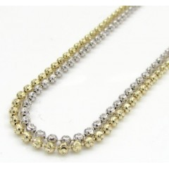 14k Gold Moon Cut Bead Chain 16-20 Inch 2mm