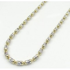 14k Gold Two Tone Gold Diamond Cut Oval Bead Chain 16-20 Inch 2mm
