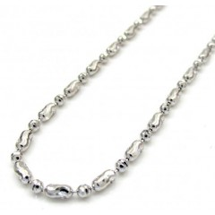 14k Gold White Gold Moon Cut Oval Bead Chain 16-20 Inch 1.8mm