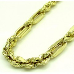 10k Yellow Gold Hollow Large Figaro Rope Chain 4.7mm 24-30 Inch